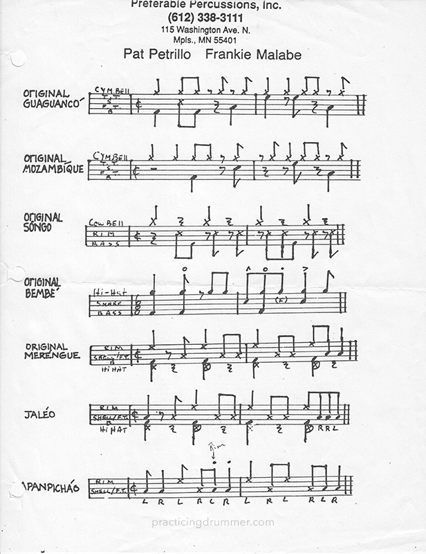Single sheet of drumset music with various afro-cuban beats written out