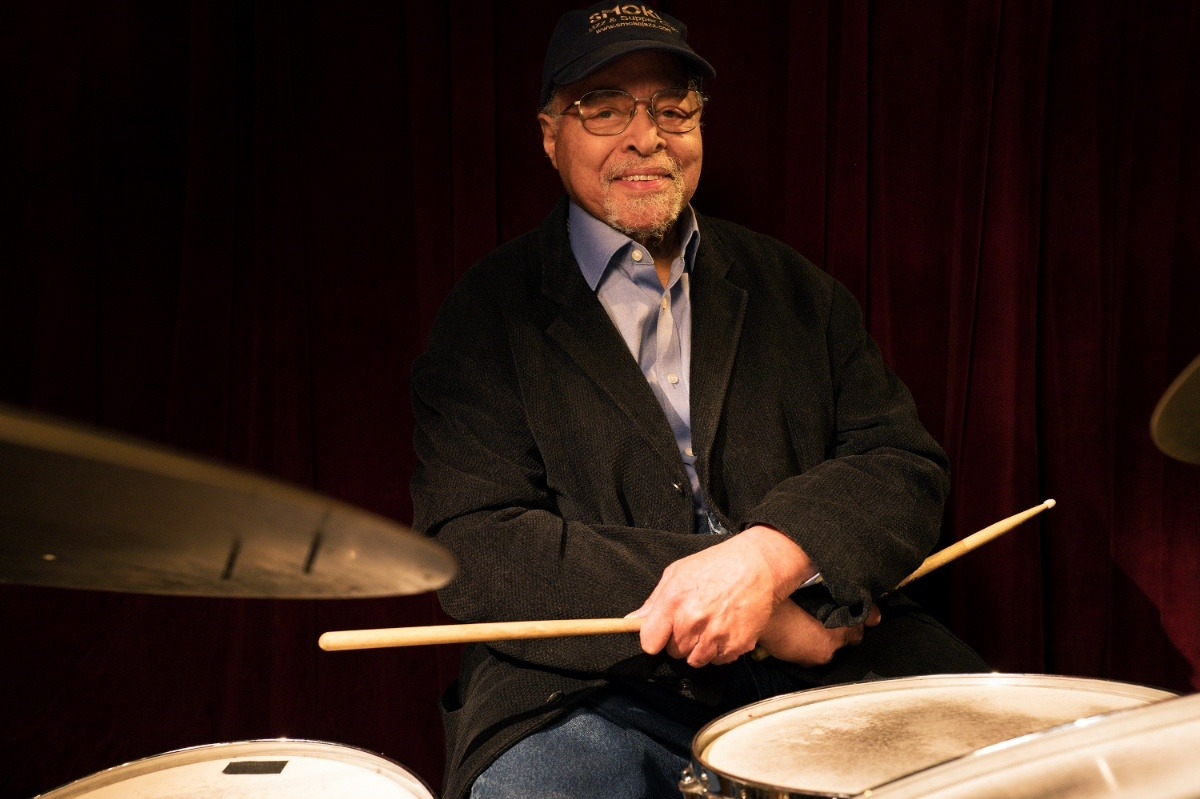 Photo of Jimmy Cobb at the drum set